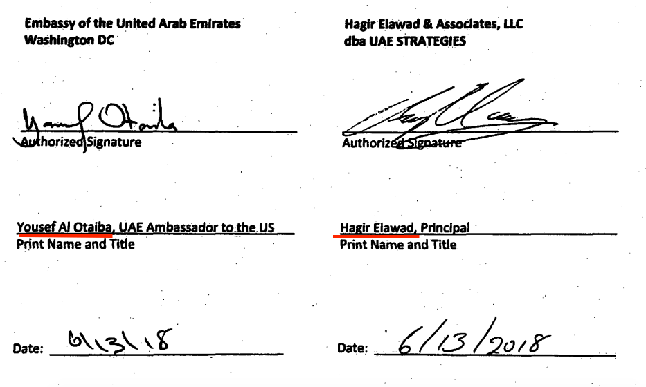 The contract for Elawad's company with the Emirati Embassy, signed by Al-Otaiba and Elawad. Source: US Department of Justice website