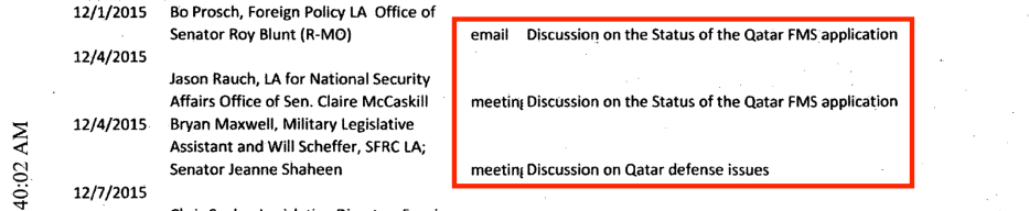 Part of the communications of the Mercury Public Affairs for the benefit of the Qatari lobby. The meetings mentioned in the photo discuss the arms deals and defence issues between the US and Qatar. Source: US Department of Justice website [sasapost.com]