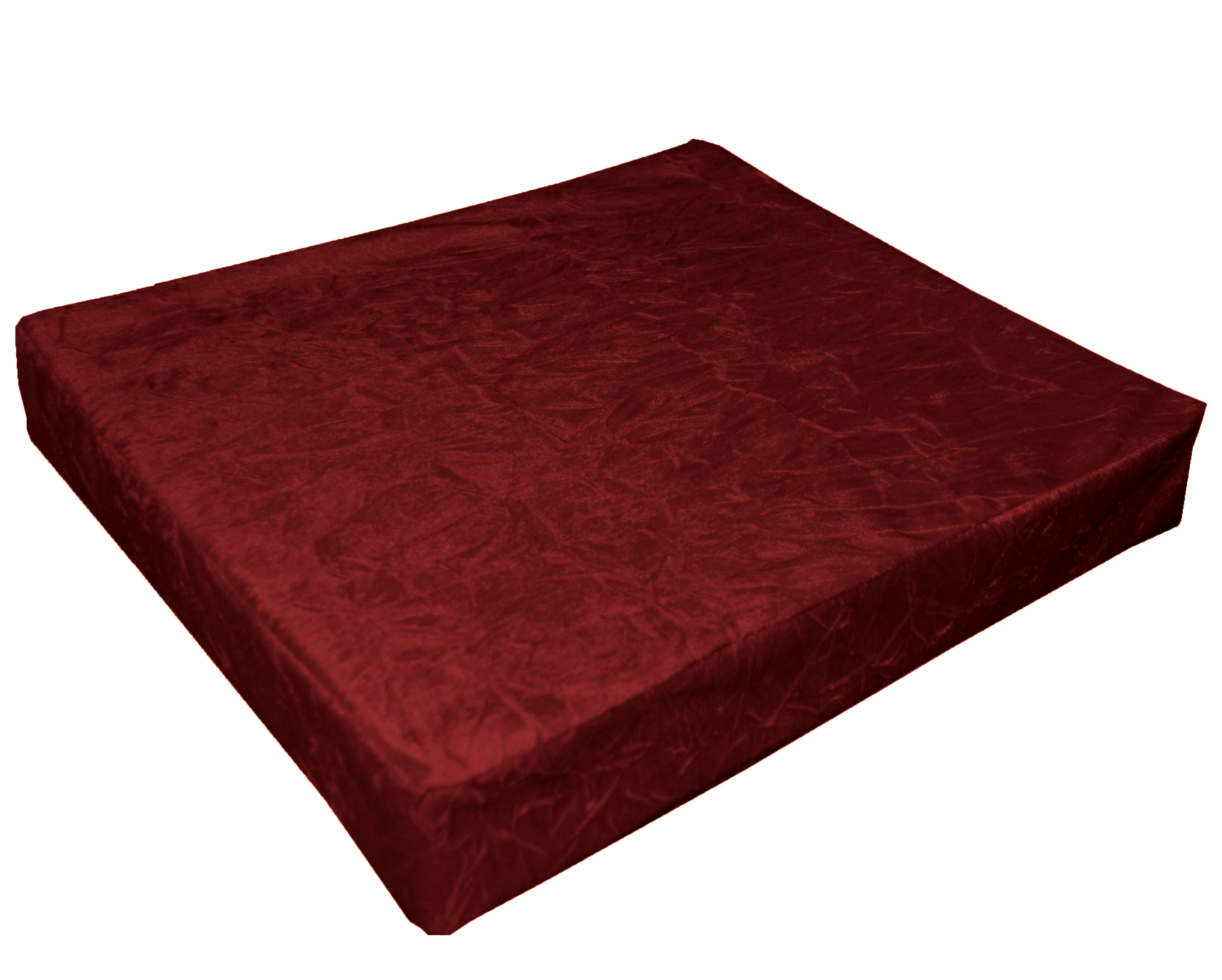 how much fabric to cover a chair cushion white wicker rocking uk mn113t deep wine red crushed velvet style 3d box sofa seat