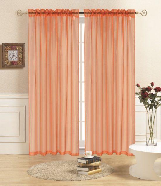 rena orange sheer panel curtain
