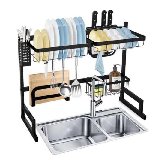 over sink dish rack stainless steel dish rack over the sink black