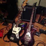 2010 Black Fender Jaguar bass, 1991 Ibanez SB1200 bass