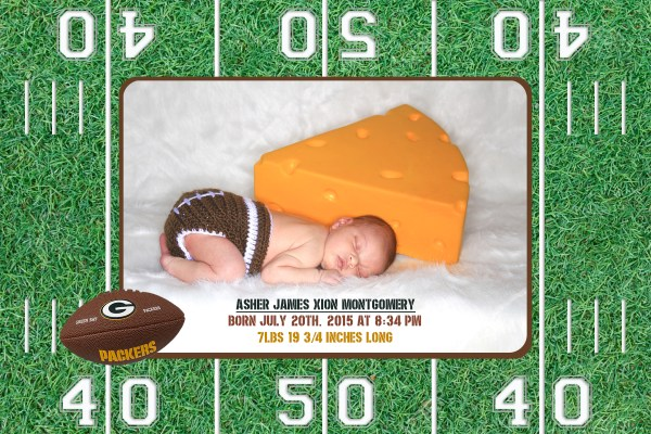 green bay packers baby birth annoucement