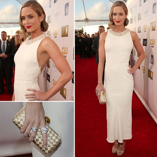 Nominated for Best Actress in an Action Movie for her role in Looper, Emily stunned in a Miu Miu dress, Prada shoes, JustFab purse and Graziela jewelry