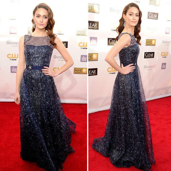 "The ""Shameless"" starlet wore a sapphire Carolina Herrera gown paired with Christian Louboutins"