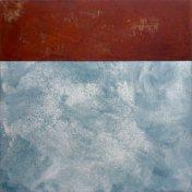 muelle II | 100 x 100 cm | óleo sobre tela y chapa de hierro
