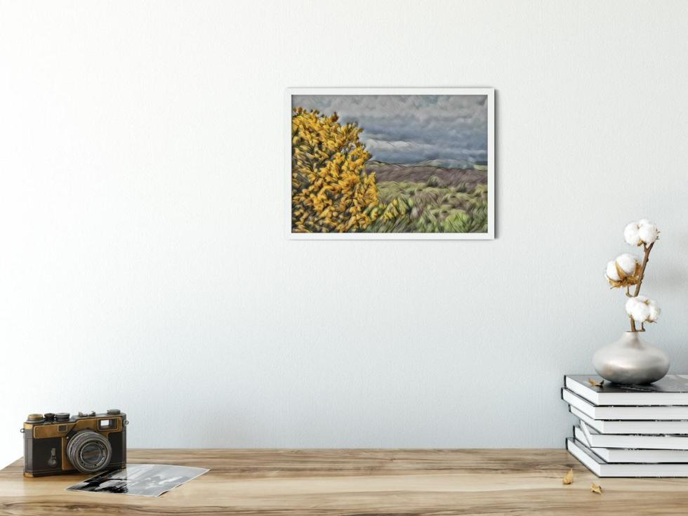Broom Over Highlands Wall Art Picture. Style PT13 sample picture
