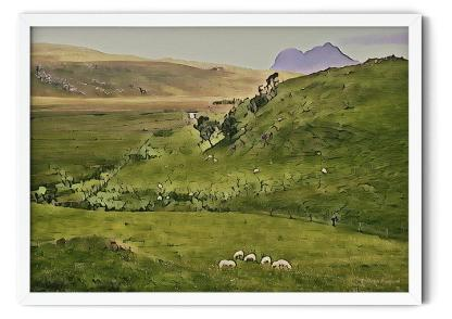 PT12: Sheep in the Valley of Deep Freeze Mountains. Watercolour wall art picture