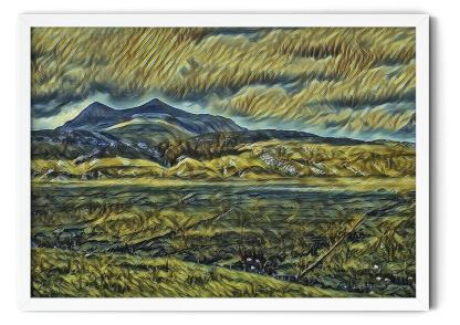PT09: In the Shadow of a Twin Peak Mountain. Expressionist oil wall art picture
