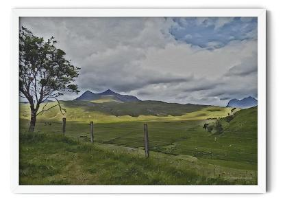 PT42: Strathcanaird in the Feet of Twin Peak Mountain. Realistic watercolour wall art picture