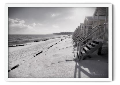 Winter Morning on Minster Leas Beach Wall Art Picture, style PT01: Black amd white photograph