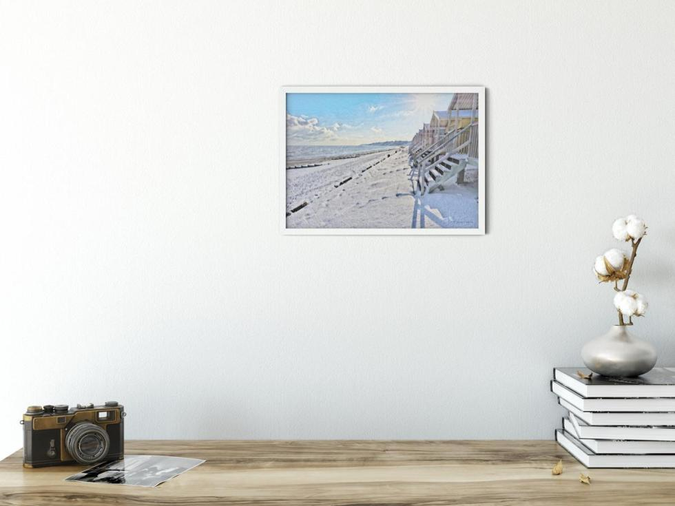 Winter Morning on Minster Leas Beach Wall Art Picture sample interior picture, style PT05
