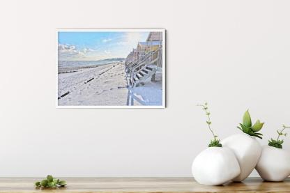 "Winter Morning on Minster Leas Beach Wall Art Picture (11.7""x16.5"")"