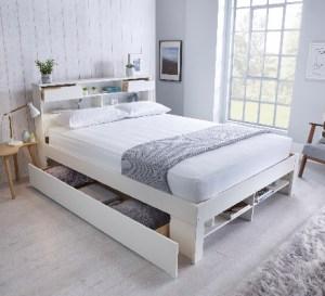 Fabio Wooden Bed White