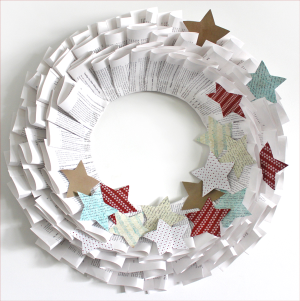 Handmade Old Book Paper Christmas Wreath How To The