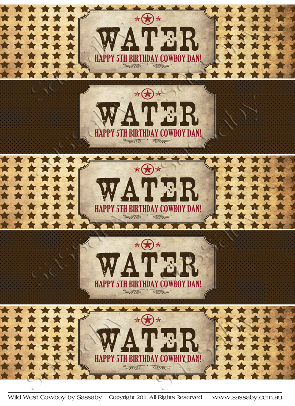 Wild West Cowboy Water Labels