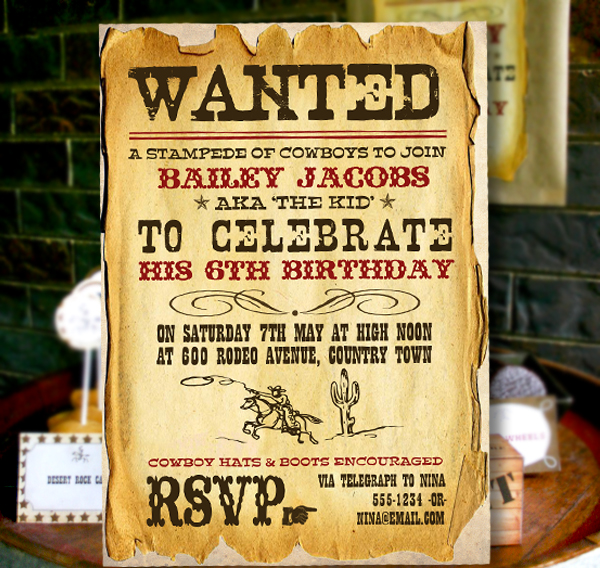 Wild West Cowboy Boys Party Birthday Invitations And