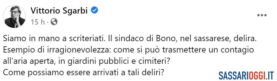 """Bono in lockdown, l'attacco di Vittorio Sgarbi: """"Siamo in mano a scriteriati"""""""