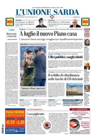 Prima pagina Unione Sarda 25 giugno