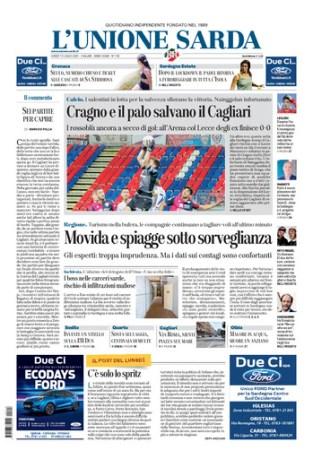 Prima pagina Unione Sarda 13 luglio