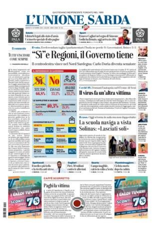 Prima pagina Unione Sarda 22 settembre
