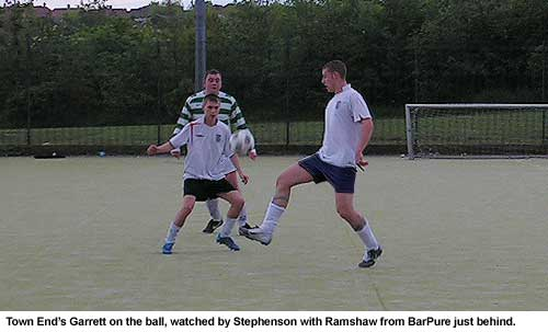 Michael Garrett, from Town End FC, controls the ball in their 4-1 defeat against BarPure