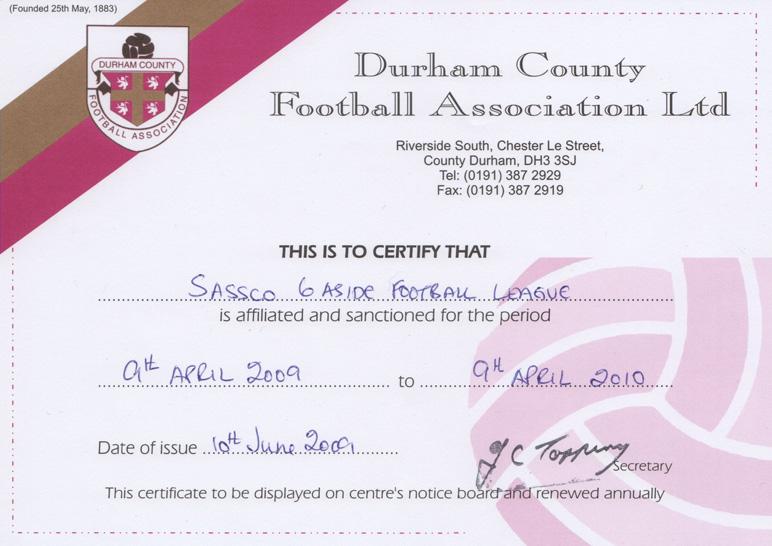 2009-2010 Durham FA affiliation