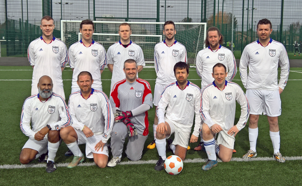 Back: Chris Dixon, Connor Llewellyn, Patrick Knox, David Bilton, Mike Barker, Paul McConville. Front: Davinder Sangha, Marc McDermont, Kevin Cooper, Dave Gourlay, Mark Middlemiss