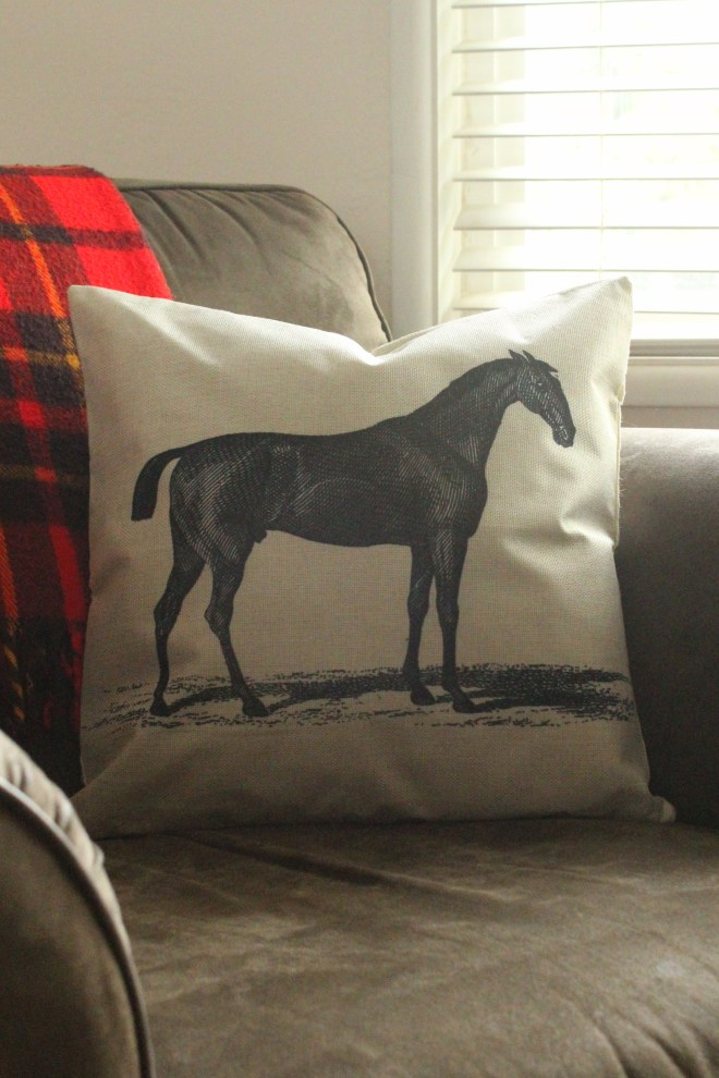 Vintage Race Horse Pillow