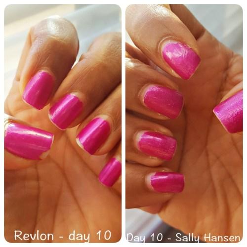 Day 10 Sally Hansen vs Revlon top coat - sassycritic.com