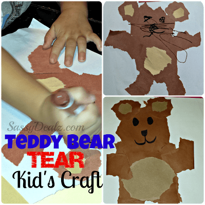 Teddy Bear Tear Kids Craft Cheap Amp Easy No Scissors