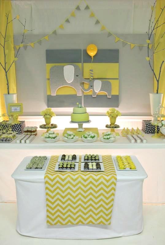 Yellow & Gray Chevron Baby Shower Ideas (Elephant Theme