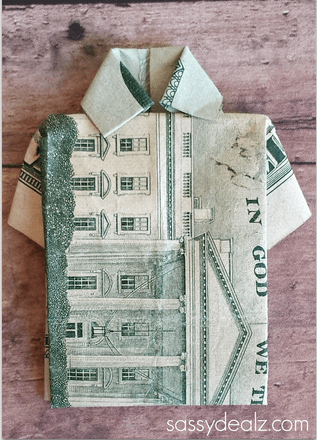 Dollar Bill Origami T Shirt Father's Day Card Crafty Morning