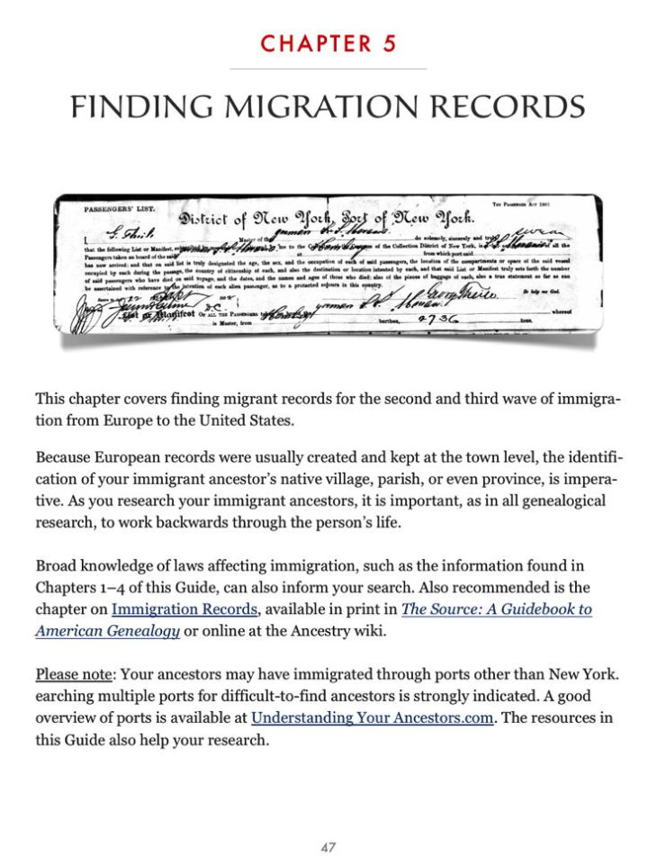 Discovering Immigrant Ancestors Chap 5
