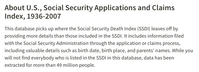 Social Security Applications and Claims Index, 1936-2007