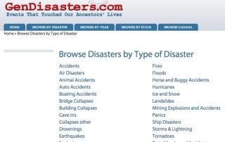 GenDisasters.com sassy jane genealogy