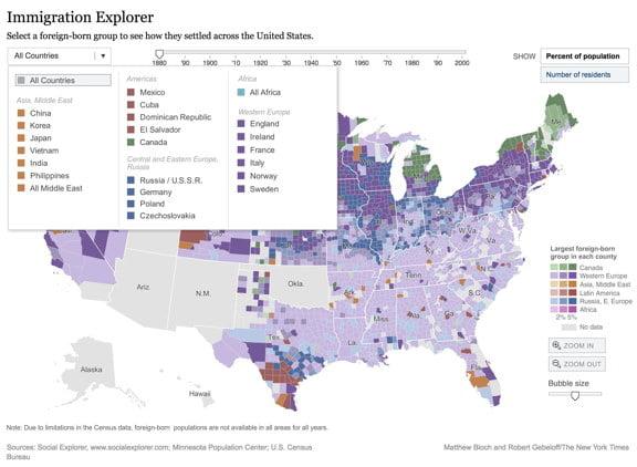 U.S. Immigration Interactive Map 1880-2000 – Sassy Jane Genealogy