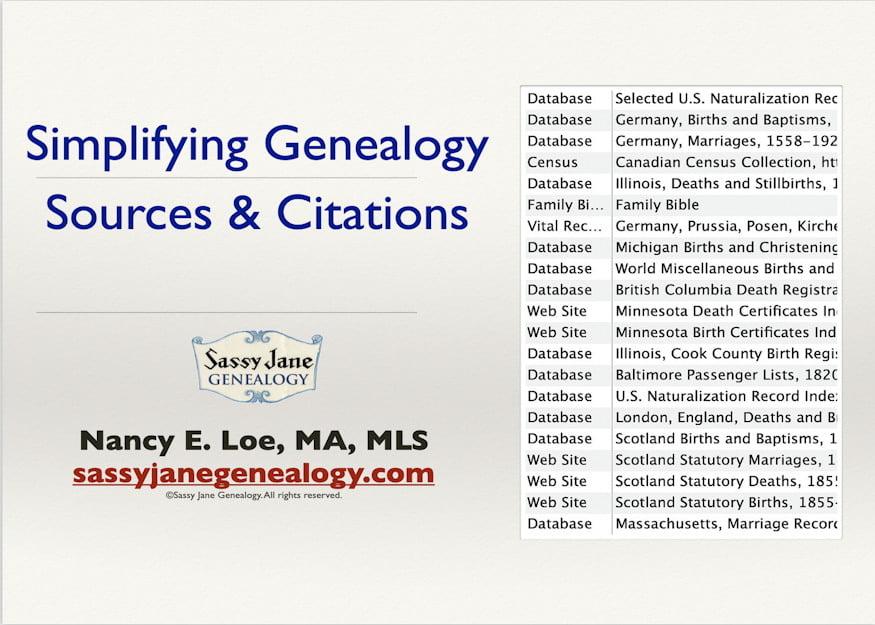 genealogy presentation simplifying genealogy sources citations sassy jane loe