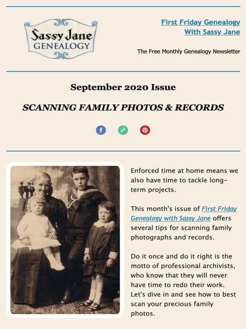 first friday genealogy newsletter sassy jane september 2020