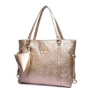 KINGH Vintage Rose Gold Embossed PU Leather Shoulder Bag