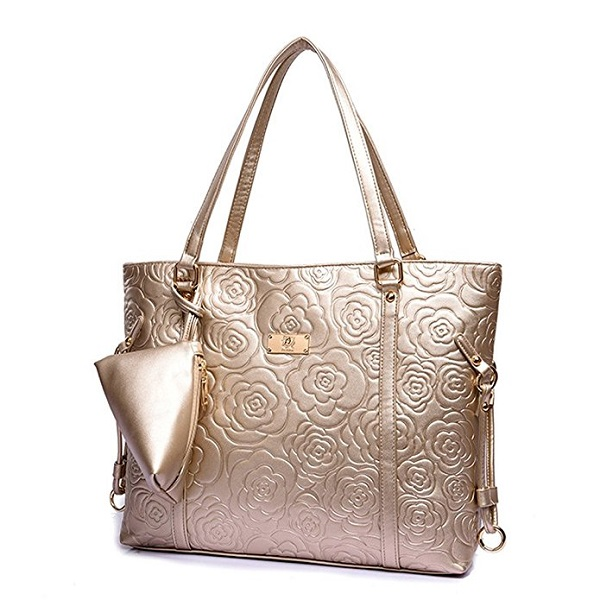 KINGH Vintage Rose Gold Embossed PU Leather Shoulder Bag