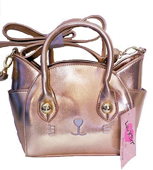 Rose Gold Cat Handbag by Luv Betsey Johnson that can be worn cross body. Includes exterior and interior pockets, removable strap. Decorated with gold hardware. #rosegold #handbag