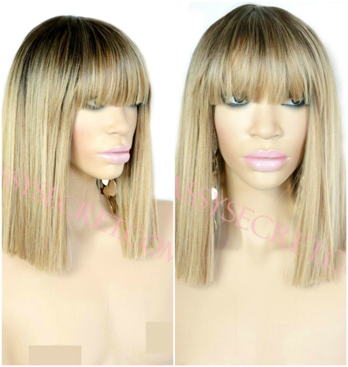 vera* ombre blunt bob synthetic lace front wig blonde