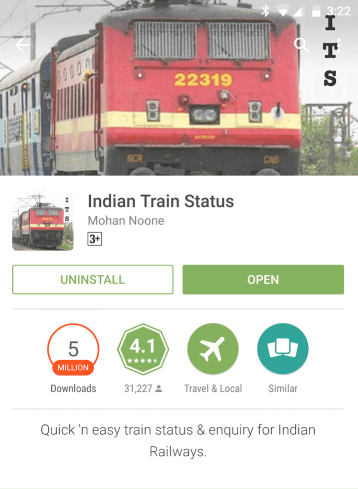 Indian Train Status app on Google Play