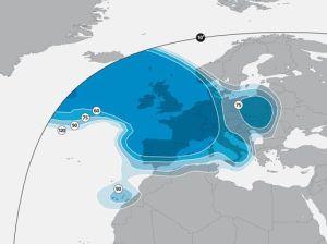 Astra 2F Satellite Signal Footprint Maps european beam