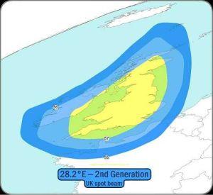 Astra 2E Satellite Signal Footprint Maps uk beam