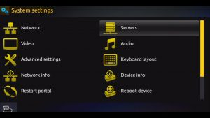 MAG 254 IPTV System Settings Screen