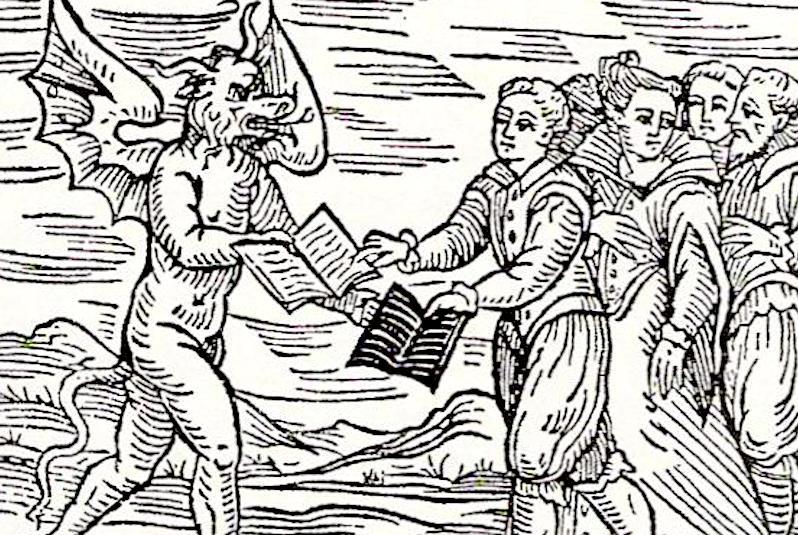 Woodcut satan witches books