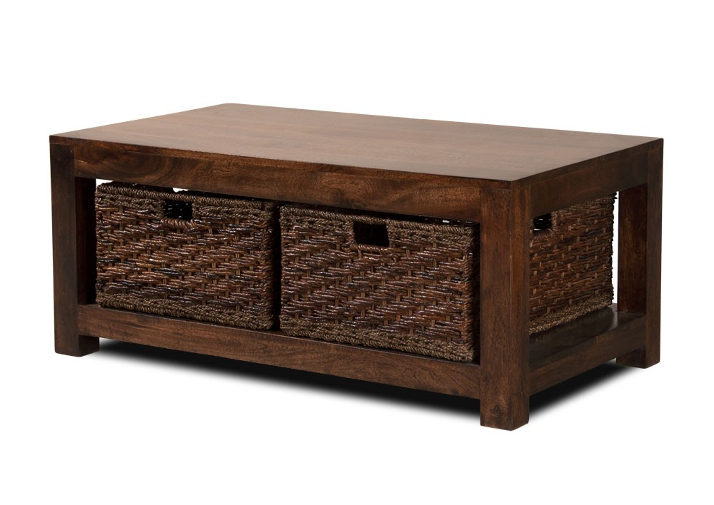 Dakota Dark Mango Large Coffee Table With Baskets