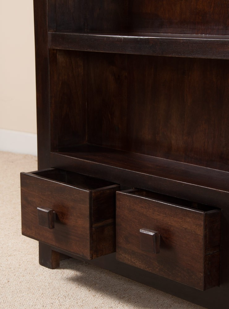 Dark Wood Bookcase Drawers